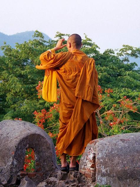 A buddhist monk witnessed returning from the Bergkamp testimonial.